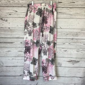 VICTORIA'S SECRET White Pink Black Floral PJ Pants